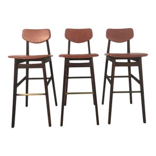Jens Risom Walnut Bar Stools - Set of 3 For Sale