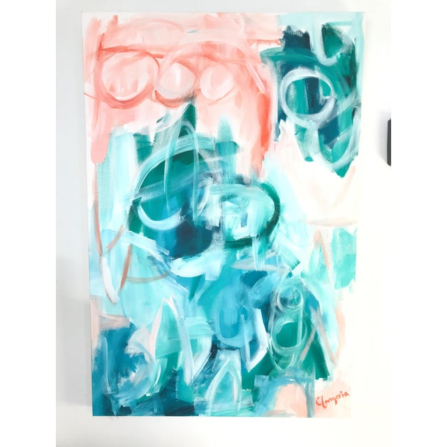 "Abstract Christina Longoria ""Saona"" Abstract Painting For Sale - Image 3 of 3"