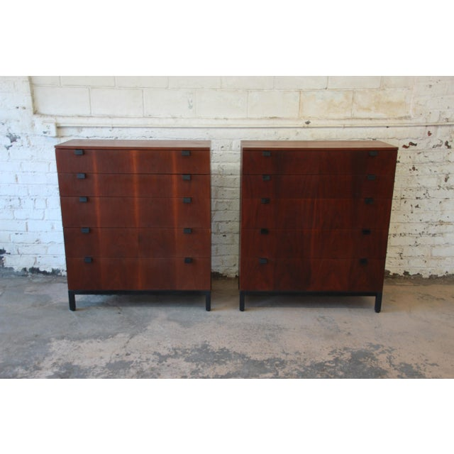Danish Modern Milo Baughman for Directional Rosewood Highboy Dressers - A Pair For Sale - Image 3 of 11