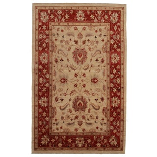 Peshawar Hand-Knotted Wool Rug For Sale