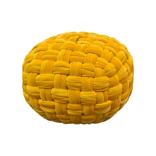 Yellow Hand Knitted Pouf For Sale