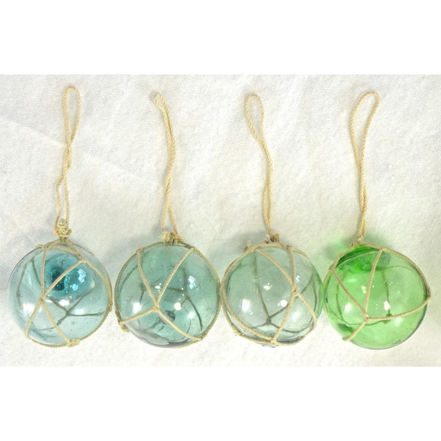Aqua Japanese Blown Glass Net Float Ornaments - Set of 4 - Image 2 of 5