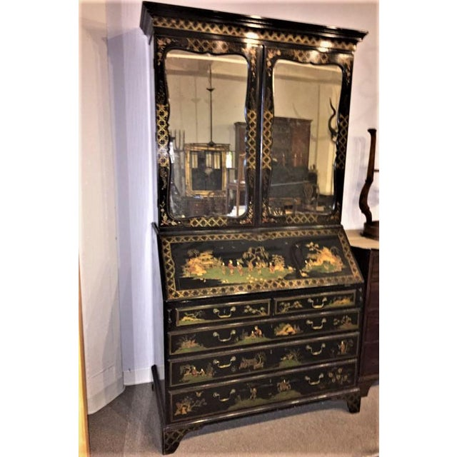 An English Georgian (George III) Mahogany Slant-Front Secretary Bookcase with hand-painted, Chinoiserie decoration,...