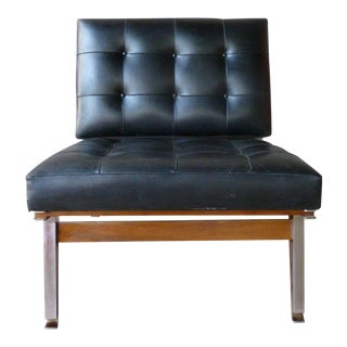 Vintage Mid Century Architectural Ico Parisi Leather Lounge Chair For Sale