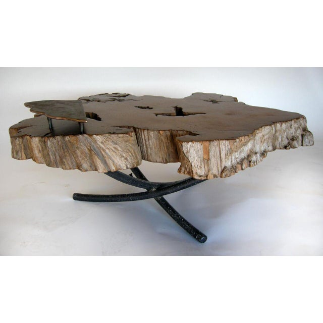 Modern Freeform Teak Coffee Table With Hand Forged Iron Tripod Base For Sale - Image 3 of 11