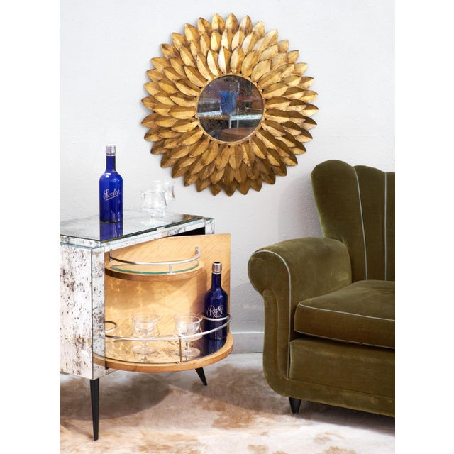 French Vintage Gilt Metal Sunflower Mirror - Image 2 of 8