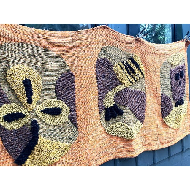 Textile 1950s Giant Hand-Loomed Polynesian Abstract Tapestry For Sale - Image 7 of 9