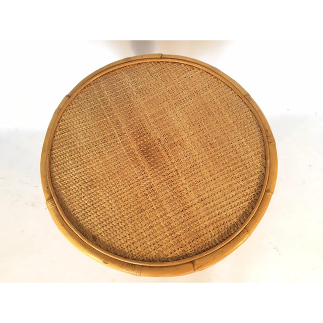 Vintage Palm Beach Cane and Rattan Round Side Table - Image 7 of 7