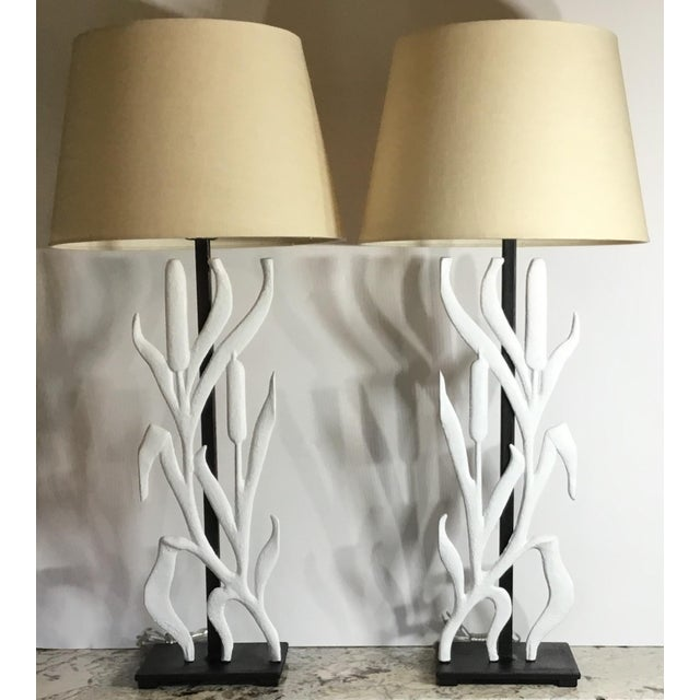 Abstract Cattail Iron Table Lamps - a Pair For Sale - Image 12 of 12