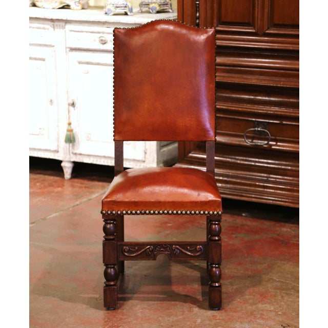 19th Century French Carved Oak and Tan Leather Dining Chairs - Set of Six For Sale - Image 4 of 13