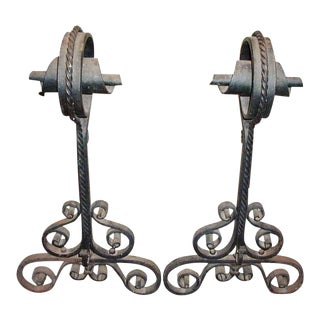 Spiral Top Wrought Iron Andirons - A Pair For Sale