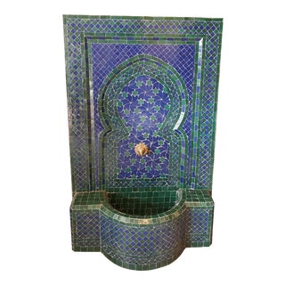 Blue & Green Rafraf Moroccan Mosaic Fountain For Sale