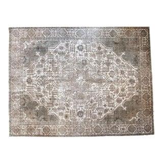 Vintage Distressed Tabriz Carpet - 9′10″ × 12′9″ For Sale