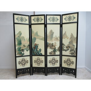 1970s Vintage Pierce Carved Chinosoire Folding Screen Preview