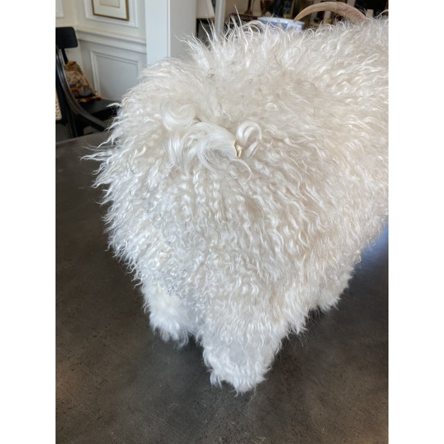 Genuine Sheepskin Ottoman in the Manner of Claude Lalanne For Sale - Image 4 of 10