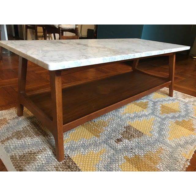 West Elm Reeve MidCentury Rectangular White Marble Top Coffee - West elm cocktail table