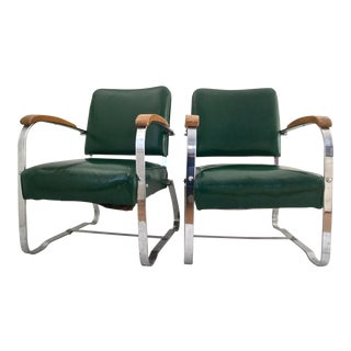 The McKay Company McKaycraft Art Deco Chrome Armchairs - A Pair