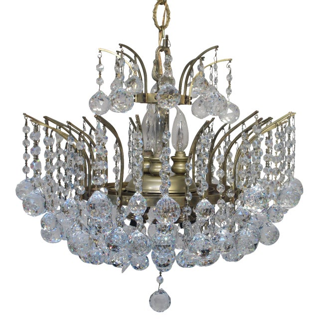 Antique Chandelier with Crystal Balls - Image 1 of 7