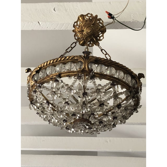 Antique Bronze & Crystal French Chandelier Pendant For Sale - Image 13 of 13