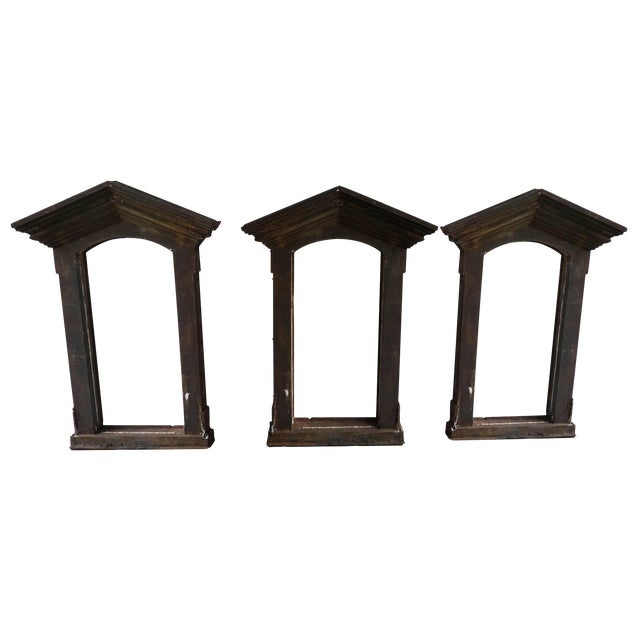 19th Century French Industrial Cast Iron Window Frames - Set of 3 For Sale