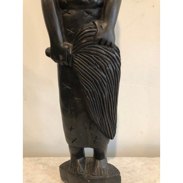 Ebony Vintage Handcarved Tribal Figure For Sale - Image 8 of 11