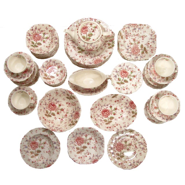 """Lovely Johnson Brothers """"Rose Chintz"""" vintage transferware china from England. Use as a single pattern table service or as..."""