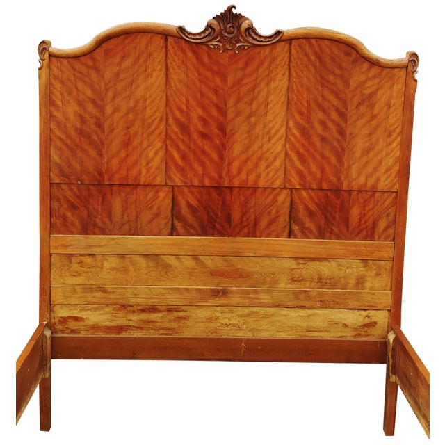 1920s Antique Tiger Maple Full Size Hand-Carved Bed For Sale - Image 5 of 8