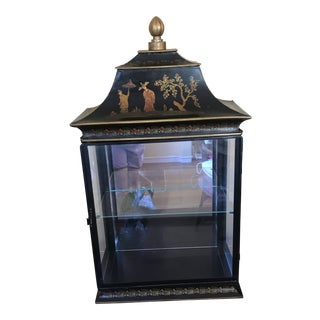 20th Century Chinoiserie Black Tole Vitrine Cabinet For Sale