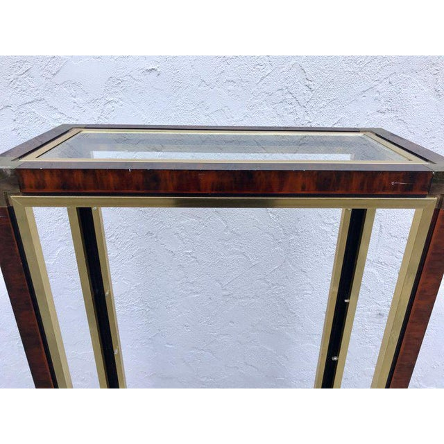"Midcentury brass and acid washed étagère, attributed to Mastercraft, of rectangular form with top inset 9"" x 25"" glass..."