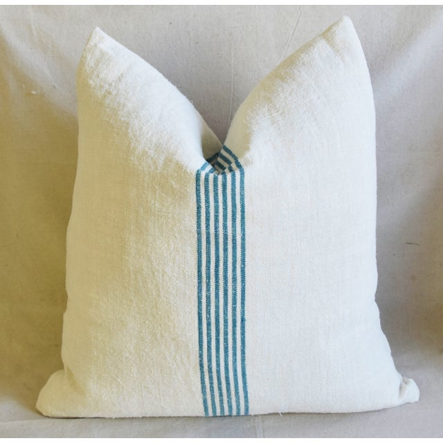 """Aqua Striped French Homespun Grain Sack Textile Feather/Down Pillows 21"""" Square - Pair For Sale In Los Angeles - Image 6 of 13"""