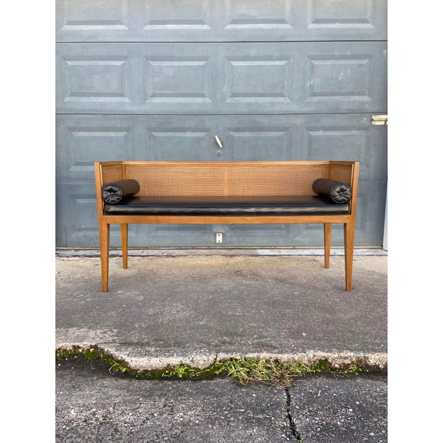 Danish Style Black Leather Bench For Sale - Image 13 of 13