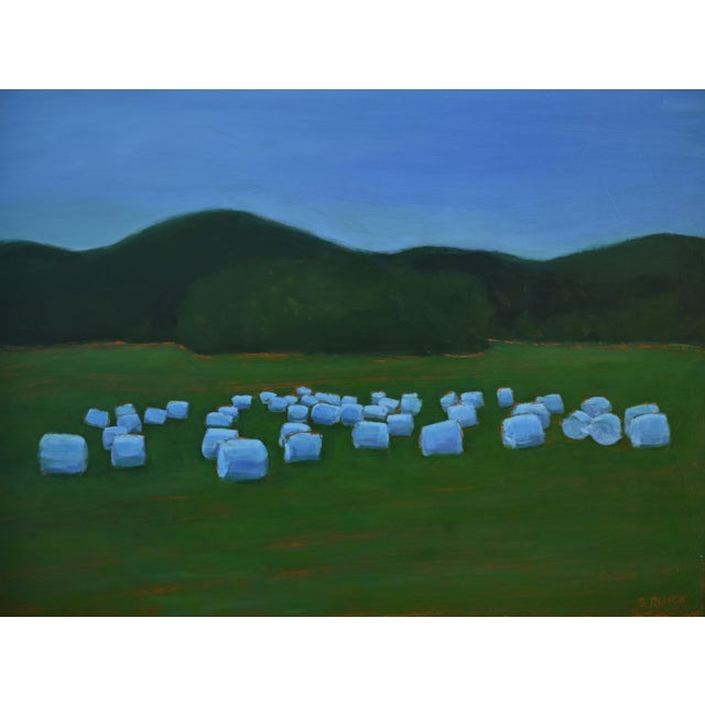 """Baled Hay at Dusk"" Contemporary Painting by Stephen Remick For Sale - Image 11 of 11"