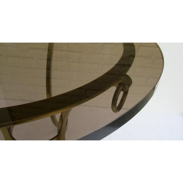Vintage LaBarge Regency Brass Hoofed & Bronze Glass Gueridon Table For Sale - Image 10 of 13