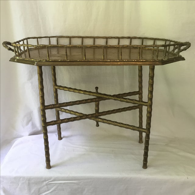 Vintage Brass Bamboo Tray Table - Image 2 of 6