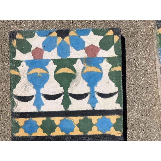 Moroccan Encaustic Cement Tile Border with Moorish Fez Design For Sale In Los Angeles - Image 6 of 13