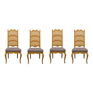 Thomasville Furniture Chateau Collection Cane Back Dining Side Chairs - Set of 4 For Sale