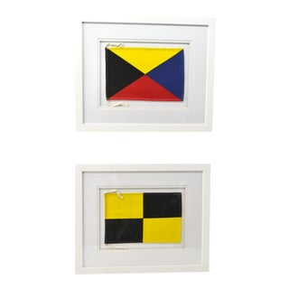 "Framed Signal Flags: Letters ""L"" & ""Z"" - a Pair For Sale"