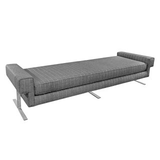 1960s Daybed in Grey Windowpane Flannel on Chromed Iron Base For Sale