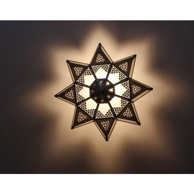 Metal Moroccan Moorish Star Shape Frosted Glass Light Shade For Sale - Image 7 of 10