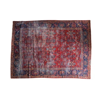 "Vintage Distressed Mahal Carpet - 9'1"" X 12' For Sale"