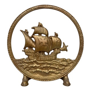 Vintage Spanish Galleon Sailing Ship Cast Iron Gilded Brass Doorstop For Sale
