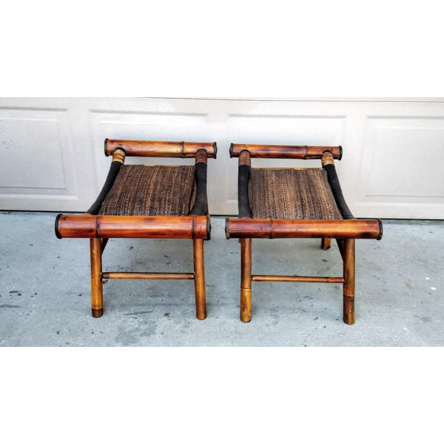 Boho Chic 1960s Boho Chic Bamboo and Rattan Foot Stools - a Pair For Sale - Image 3 of 7