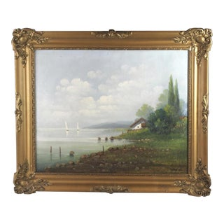 1930s Vintage Country Landscape Oil Painting by Olah Gy For Sale