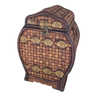 Wood and Woven Basket Chest For Sale