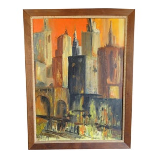 Cindy Boyd City Scape Oil Painting on Board For Sale