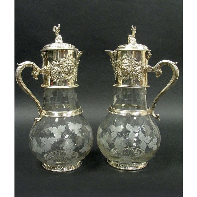 Mid 20th Century English Sliver Plated and Engraved Glass Claret Jugs - a Pair For Sale - Image 5 of 10
