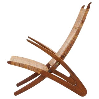 Rare Hans Wegner Dolphin Folding Lounge Chair Johannes Hansen, Denmark, 1950 For Sale