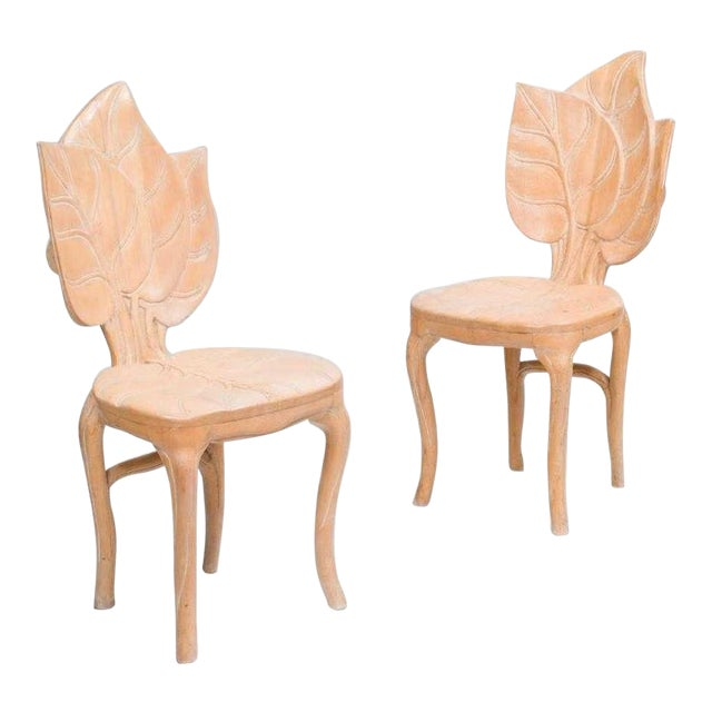 Pair Bartolozzi & Maioli Carved Wooden Side Chairs For Sale