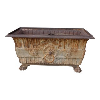 Vintage French Cast Iron Planter Box For Sale