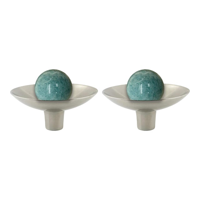Addison Weeks Gibson Knob, Pewter & Amazonite - a Pair For Sale
